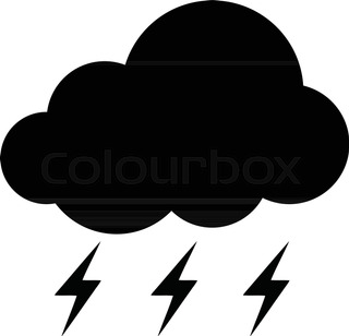 320x308 Cloud And Lightning Bolt Vector Sketch Icon Isolated On Background
