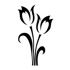 225x225 Black Silhouette Of Lily Flower Vector Illustration Stock Photo