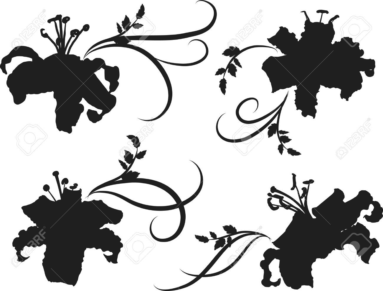 1300x986 Tiger Lilies Silhouette Set. One Color. Royalty Free Cliparts