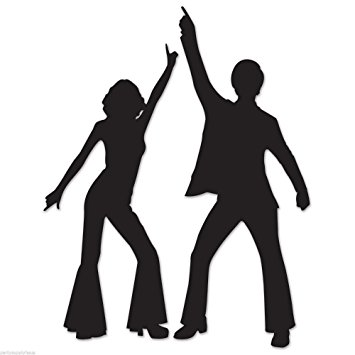 355x355 Funky 70's Disco Dancing Couple Silhouettes Party Wall