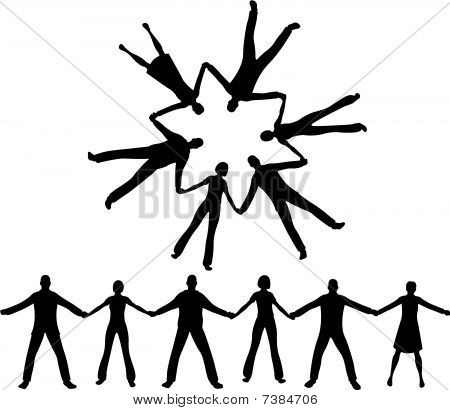 450x410 9 People Holding Hands Silhouette Clipart Collection