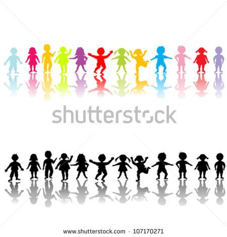 450x470 Children Silhouette Clipart