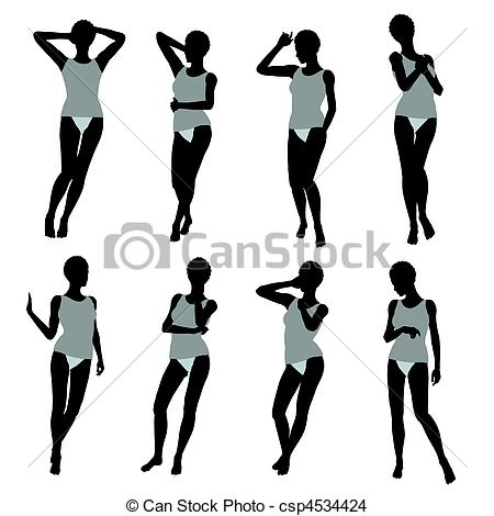 450x470 African American Woman Lingerie Silhouette. African American