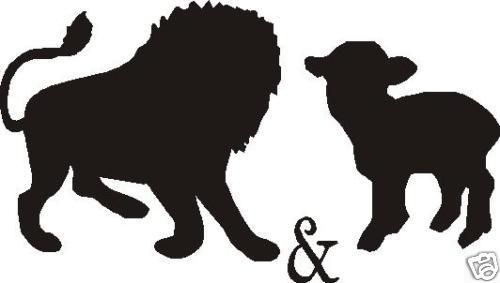 500x283 Lion And Lamb Car Decal Sticker Lions
