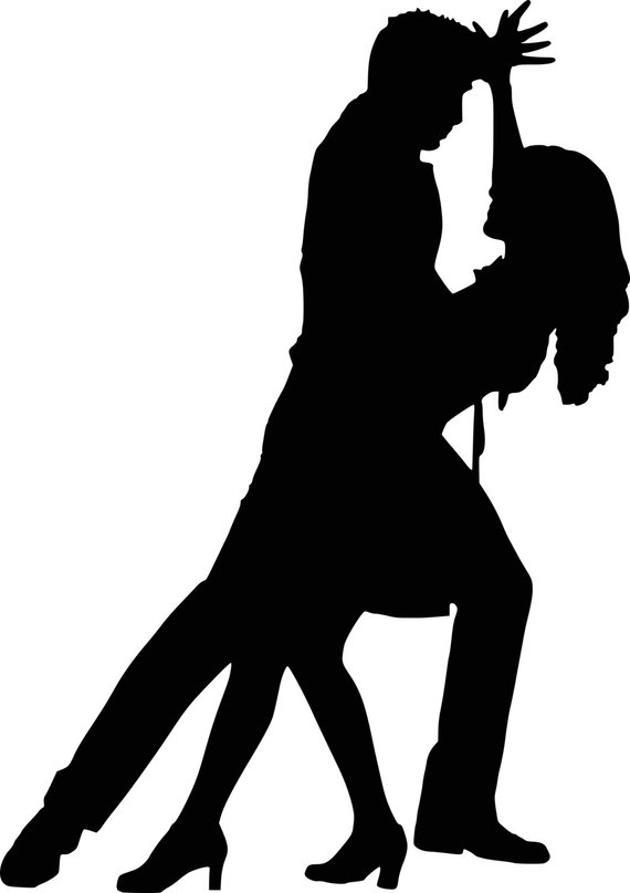 570x807 Dancer Silhouettes Bachata Salsa Instant Download Digital