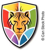 159x179 Stylized Colorful Lion Head Silhouette Logo Vector Icon Vectors