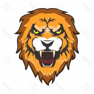 300x300 Big Cat Vector Clipart Of A Black And White Roaring Male Lion Head