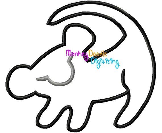 570x470 Simba Silhouette Lion King Embroidery Machine Applique