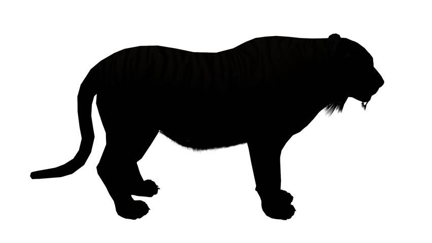 852x480 Tiger Open Mouth Roar Sketch Silhouette,wildlife Animals Habitat