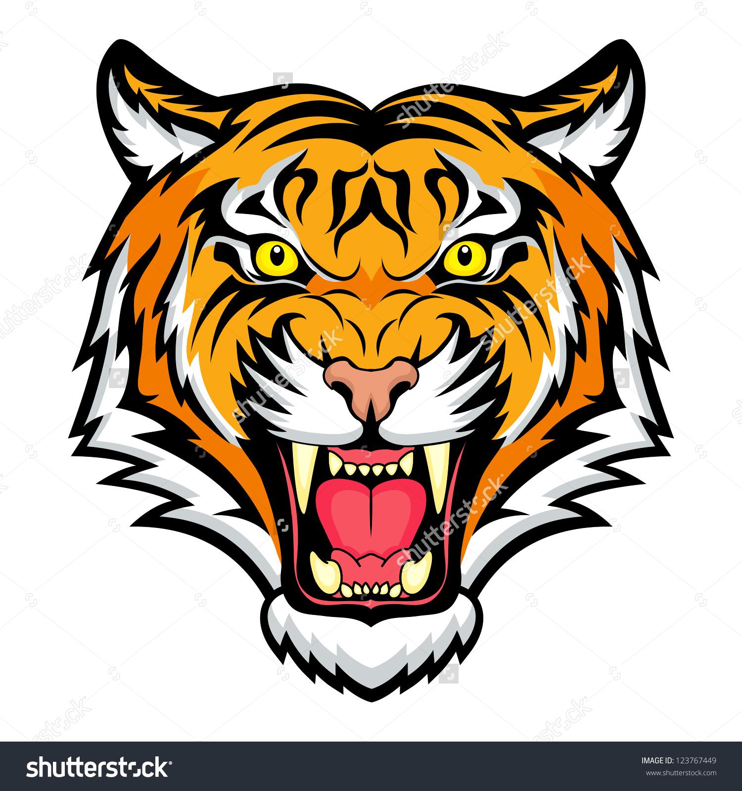 1500x1600 Tiger Anger. Vector Illustration Of A Tiger Head.