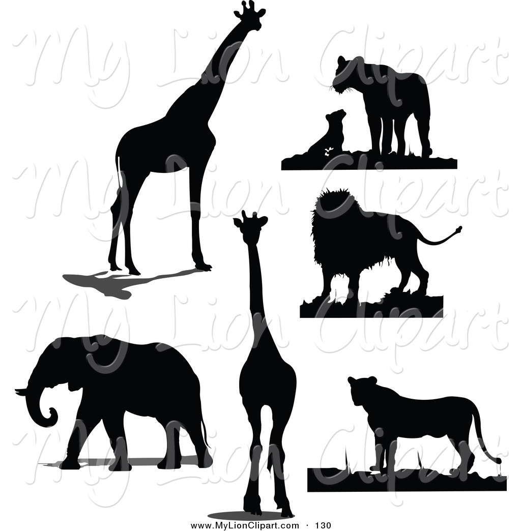 1024x1044 Clipart Of A Digital Set Of Black Giraffe, Lion And Elephant