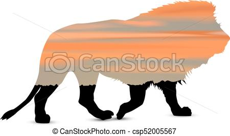 450x267 Silhouette Of Lion With African Savannah And Colorful Clip Art