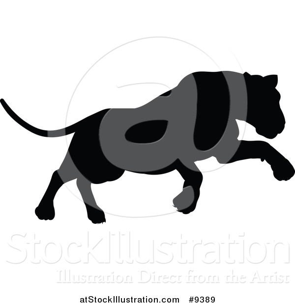 600x620 Vector Illustration Of A Black Silhouetted Lioness Pouncing By