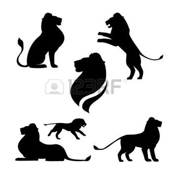 350x350 Lion Logo Lion Set Of Black Silhouettes. Icons And Illustrations