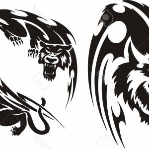 300x300 Creative Silhouette Illustration Tribal Vector Head Of Panther