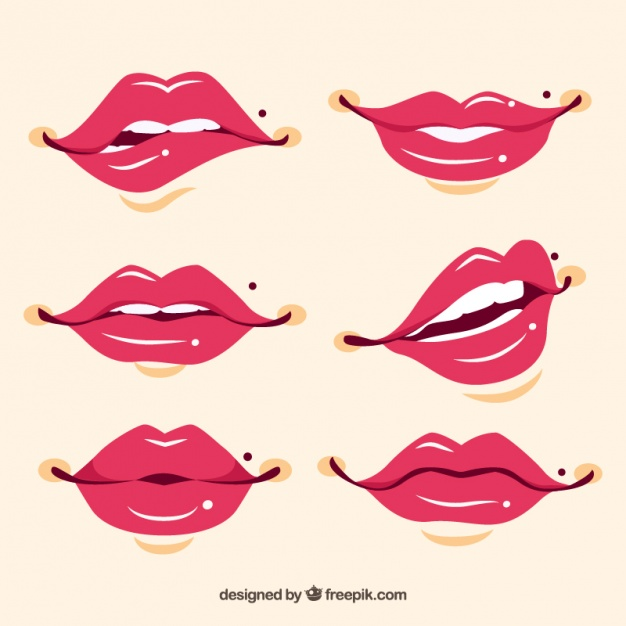 626x626 Hand Drawn Pretty Lips Set Vector Free Download
