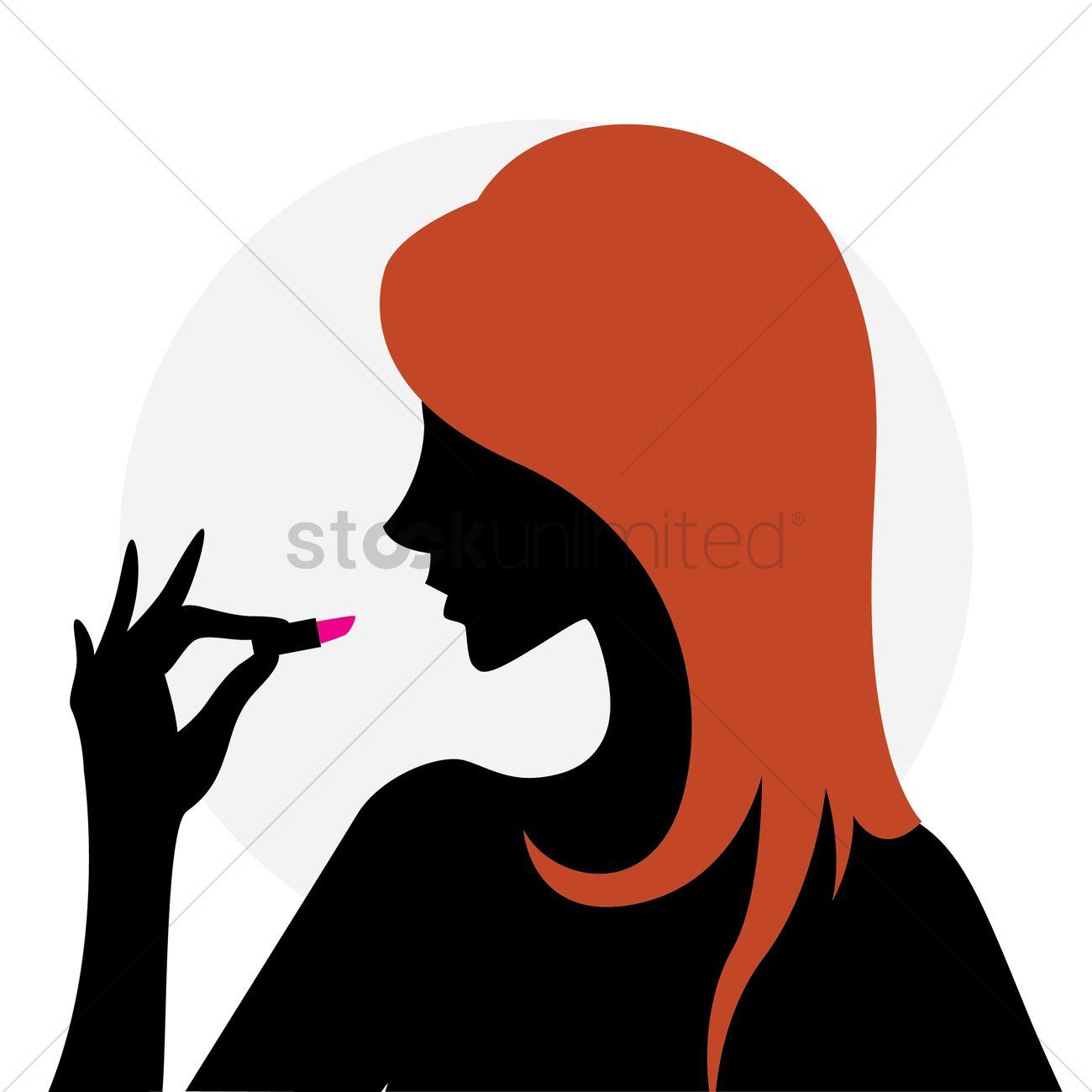 1300x1300 Woman Holding Lipstick Vector Image