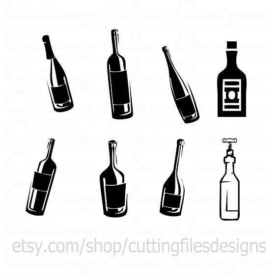 570x570 Wine Beer Liquor Bottlesglasses Bundle Svg Cutting File