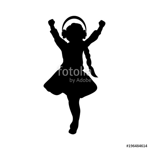 500x500 Silhouette Girl Listening To Music With Headphones Stock Image