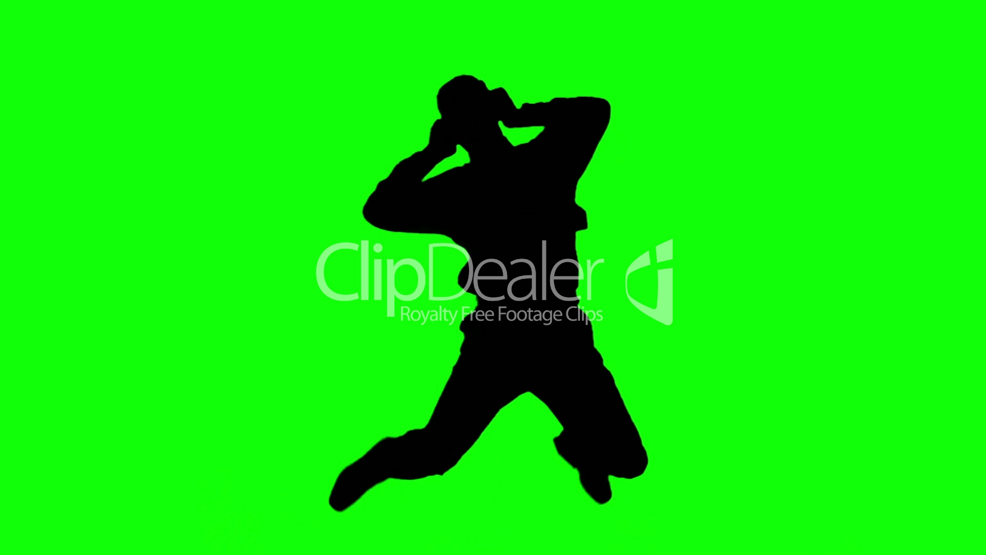 1920x1080 Silhouette Of A Man Jumping And Listening To Music On Green Screen