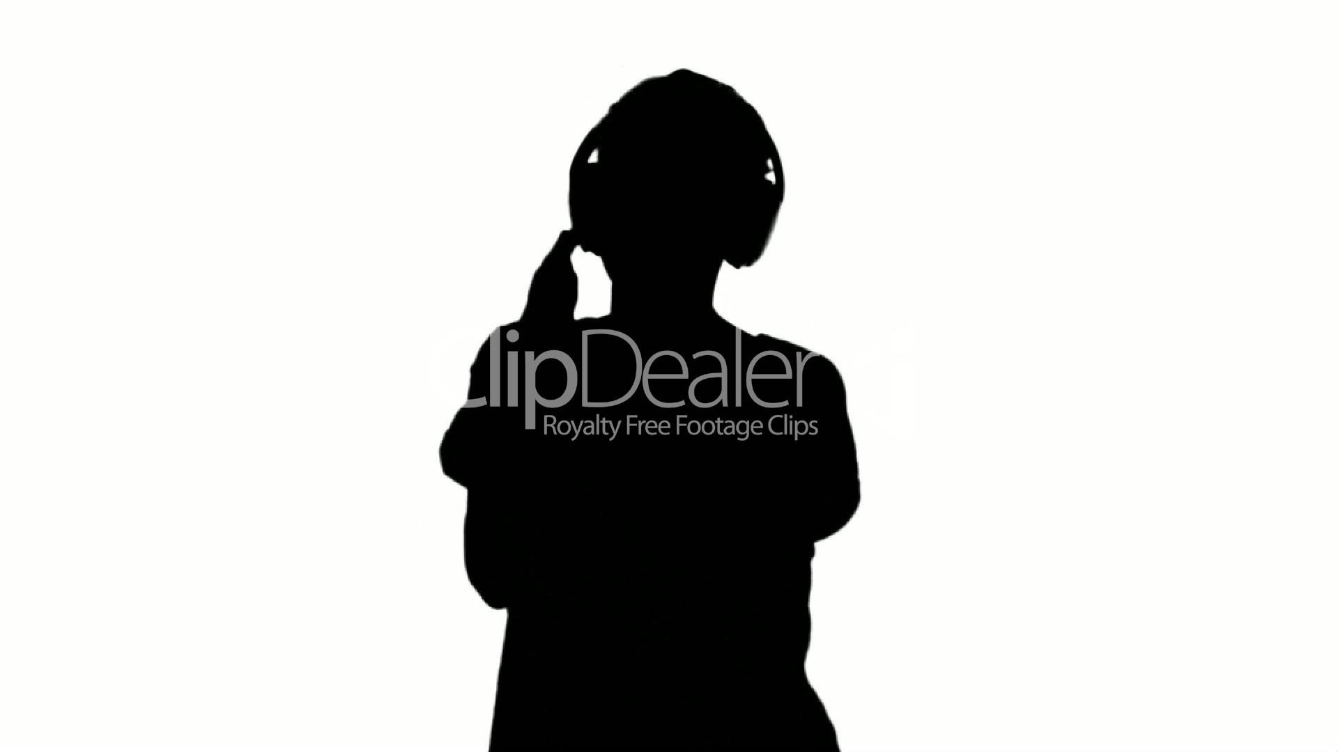 1920x1080 Silhouette Of Woman Listening To Music On White Background