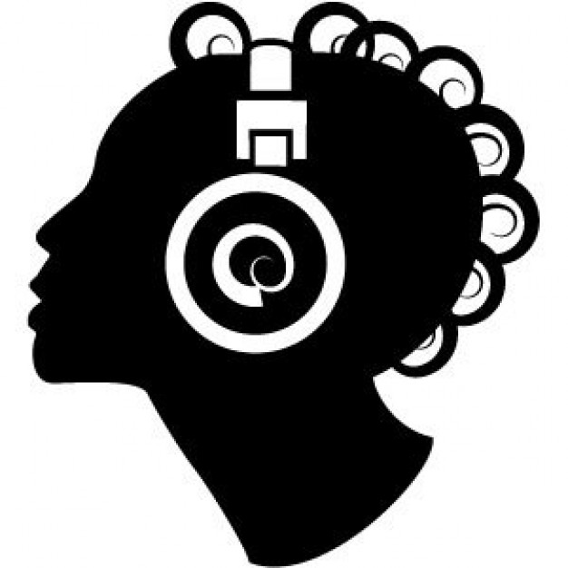626x626 Woman Silhouette With Headphones Vector Free Download