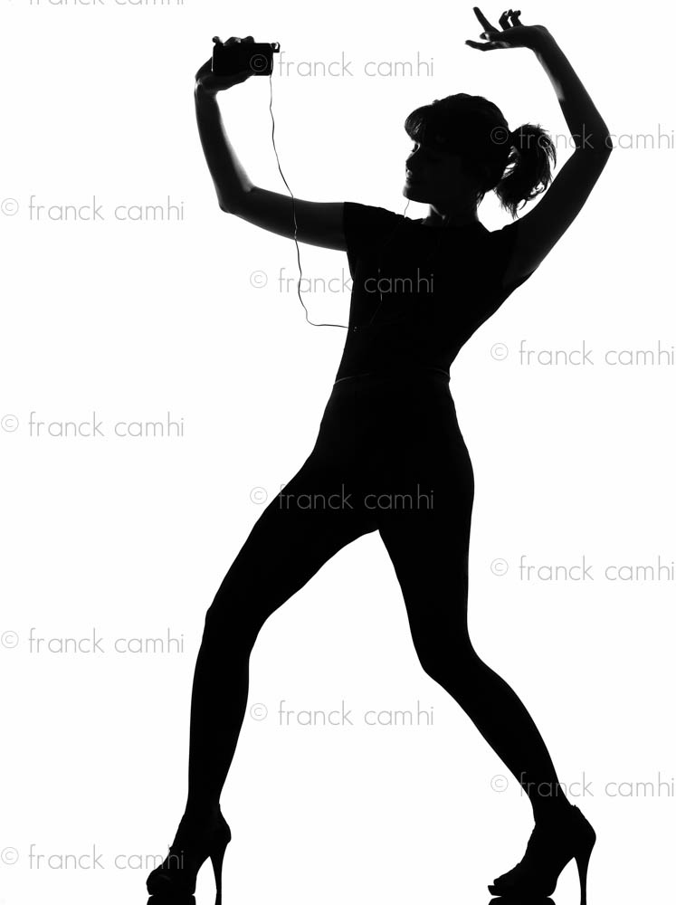 747x1000 Silhouette Woman Dancing And Listening Music Full Length