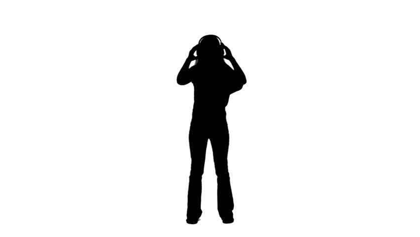 852x480 A Silhouette Of A Dancing Man Listening To Music Against A White