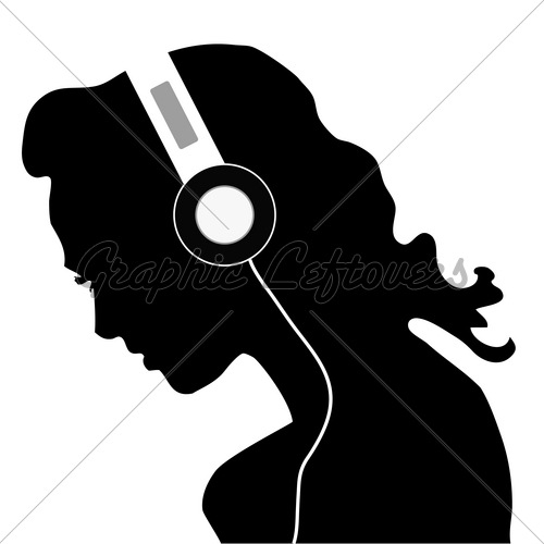 500x500 Girl Listening To Music Silhouette