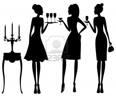 400x334 Vector Illustration Of Three Young Elegant Women
