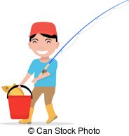 184x194 A Vector Illustration Of A Boy Going Fishing Vectors Illustration