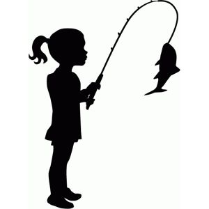 300x300 Little Girl Fishing Silhouette Silhouette Design, Silhouettes