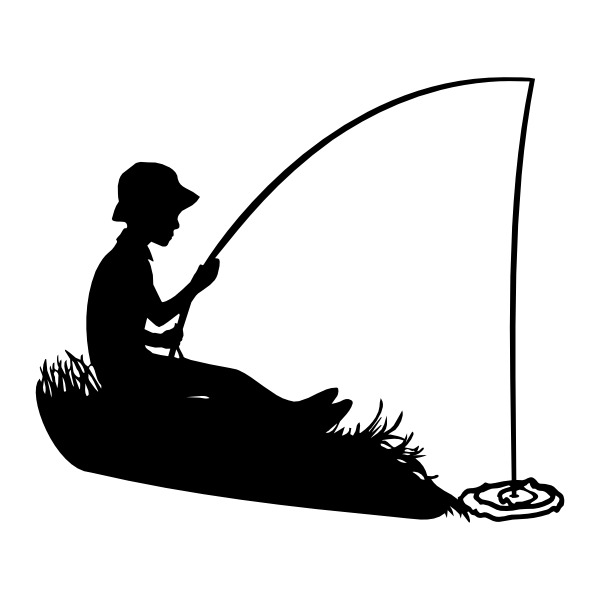 600x600 Boy Fishing Silhouette Svg File, Silhouettes And Boating