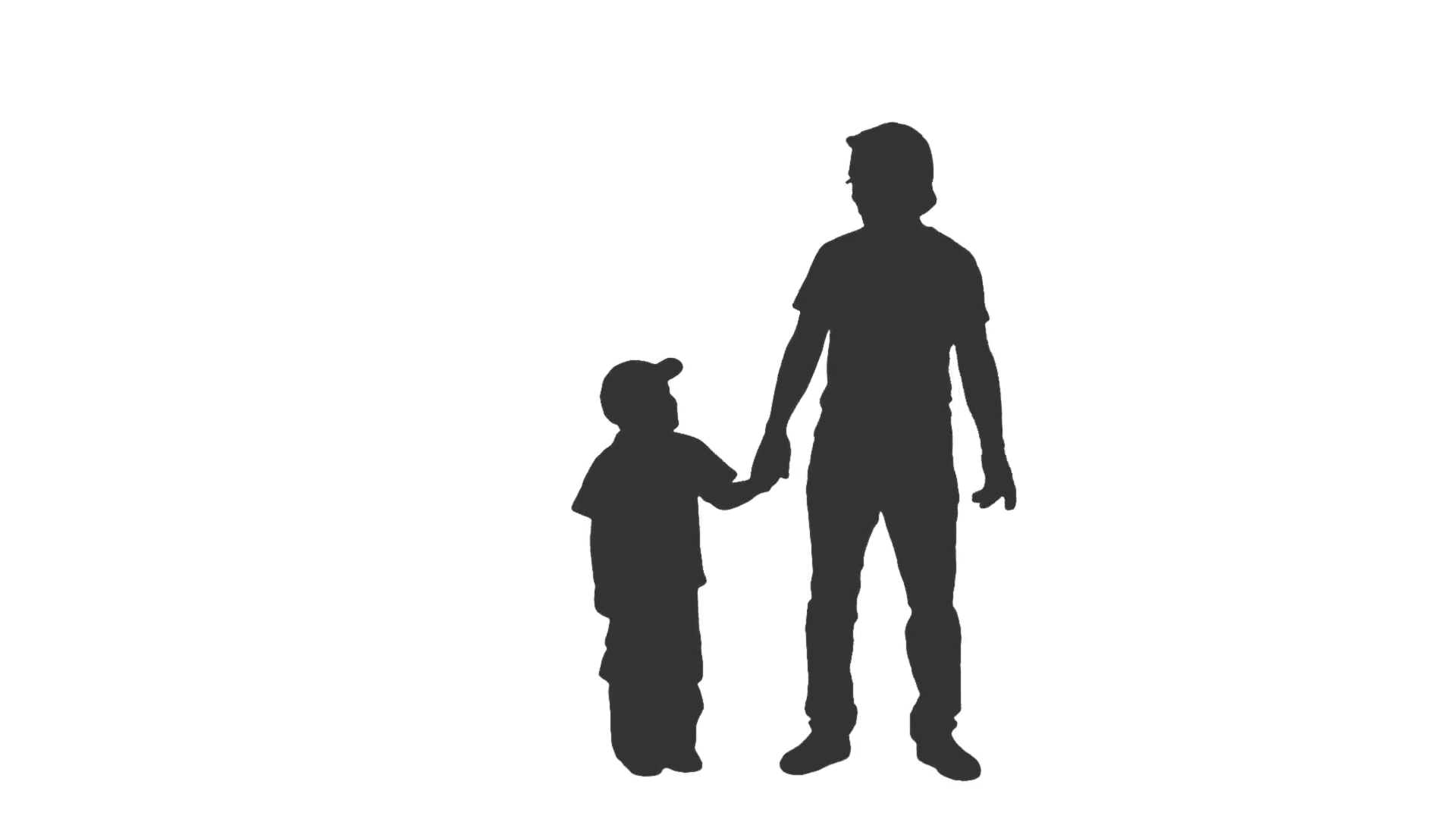 1920x1080 Silhouette Of A Little Boy In A Baseball Cap Standing With His