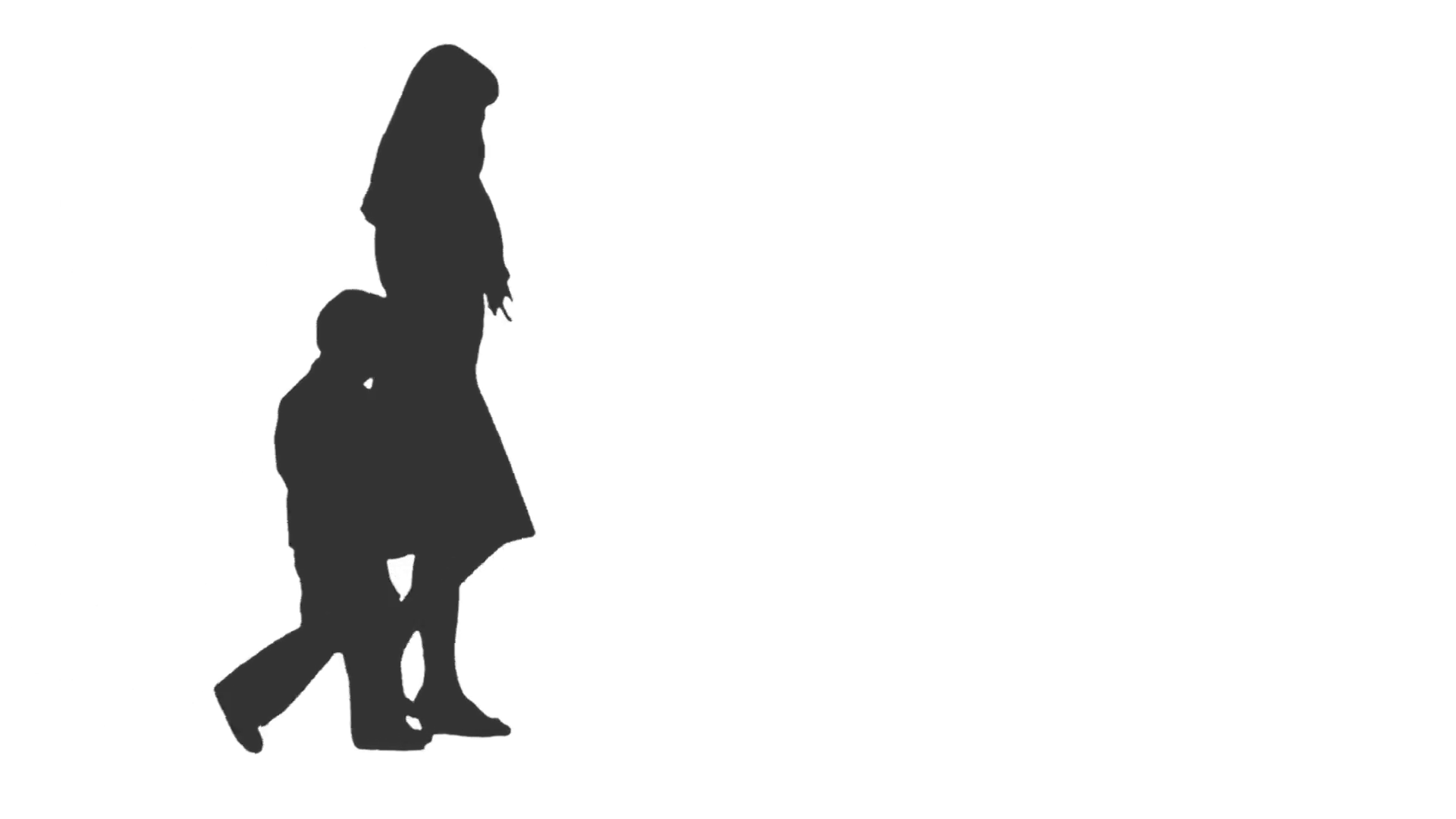 1920x1080 Silhouette Of A Woman Walking With A Little Boy, Side View. Full