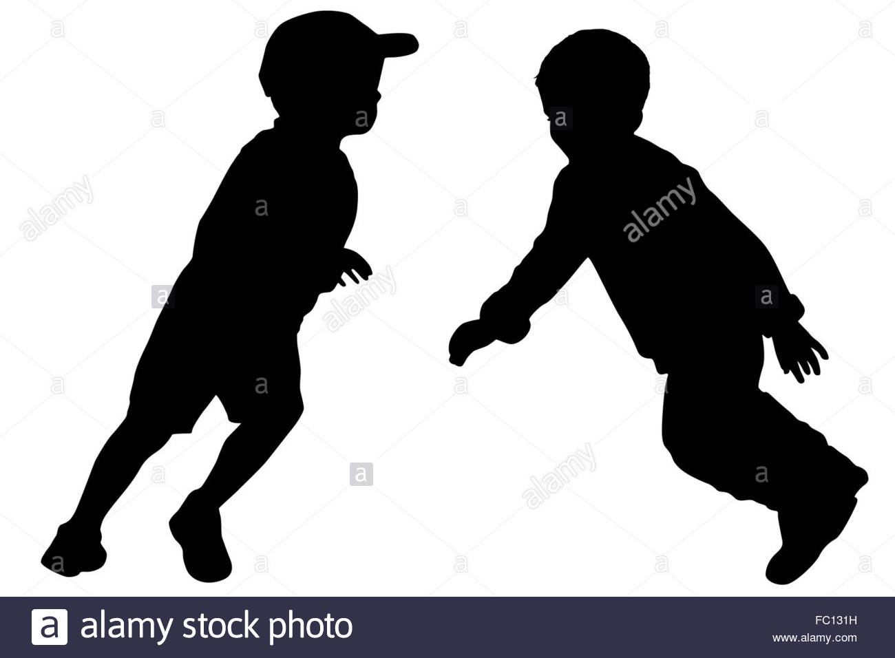 1300x956 Silhouettes Of Two Little Boys Stock Photo 93452061