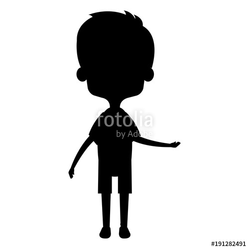 500x500 Cute And Little Boy Silhouette Vector Illustration Design Stock