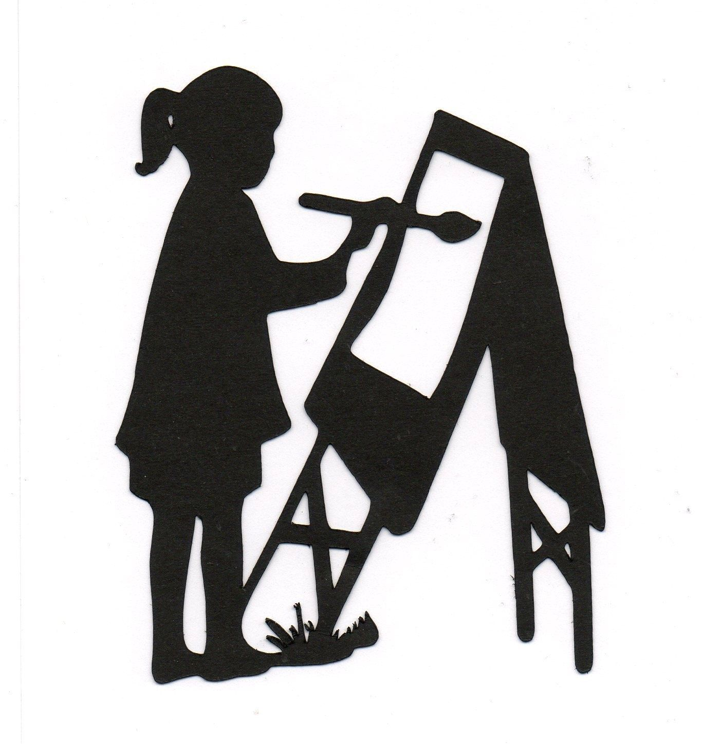 1366x1448 New Design Girl Painting Arts N Crafts Child Silhouette Die Cut