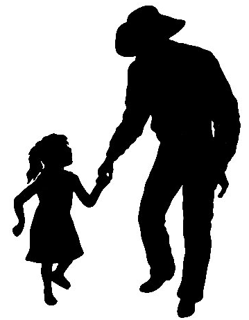 359x461 Cowboy And Daughter Silhouettes Cowboys