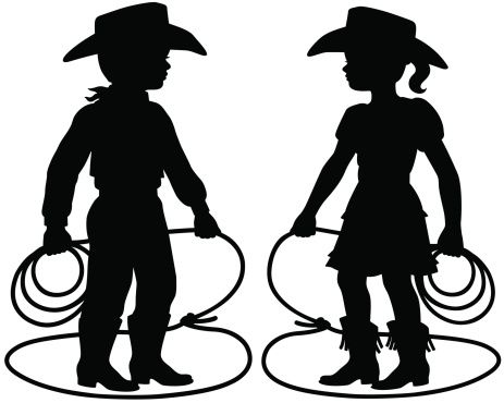 463x370 Cowboy Cowgirl Children Silhouettes. Cowboys, Vector Art
