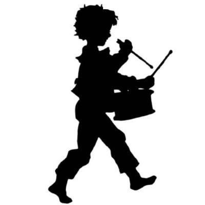 400x400 Drummer Boy Silhouette Lg. Mounted Music Rubber Stamp, Christmas