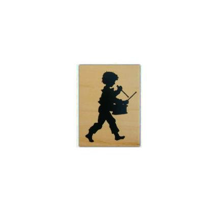 430x430 Drummer Boy Silhouette Small, Mounted Music Rubber Stamp, Marching