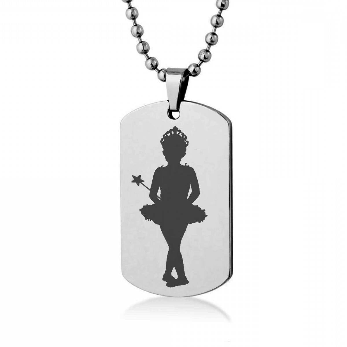 1200x1200 Little Girl Ballerina Silhouette Engrave Dog Tag Necklace Pendant