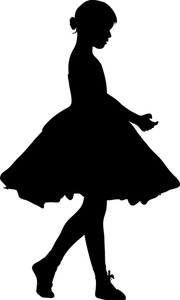180x300 Little Girl Dancing Silhouette