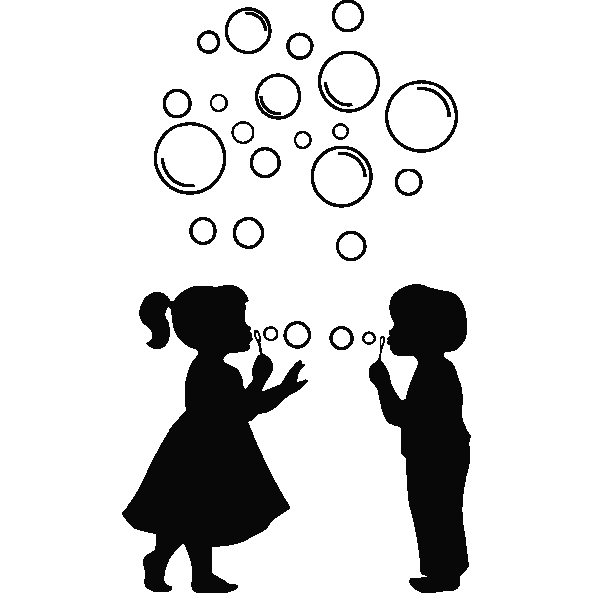 1200x1200 Child Blowing Bubbles Silhouette