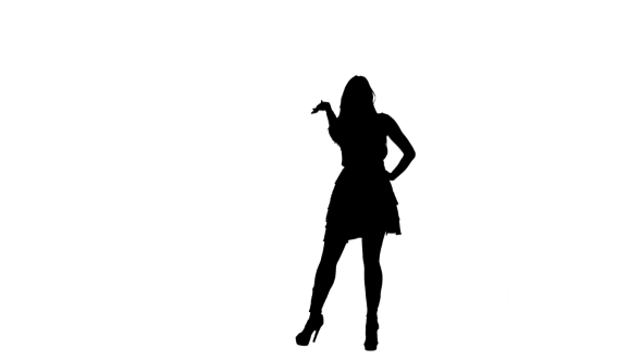 590x332 Silhouette Of Girl Dancing In The Club On White Background By