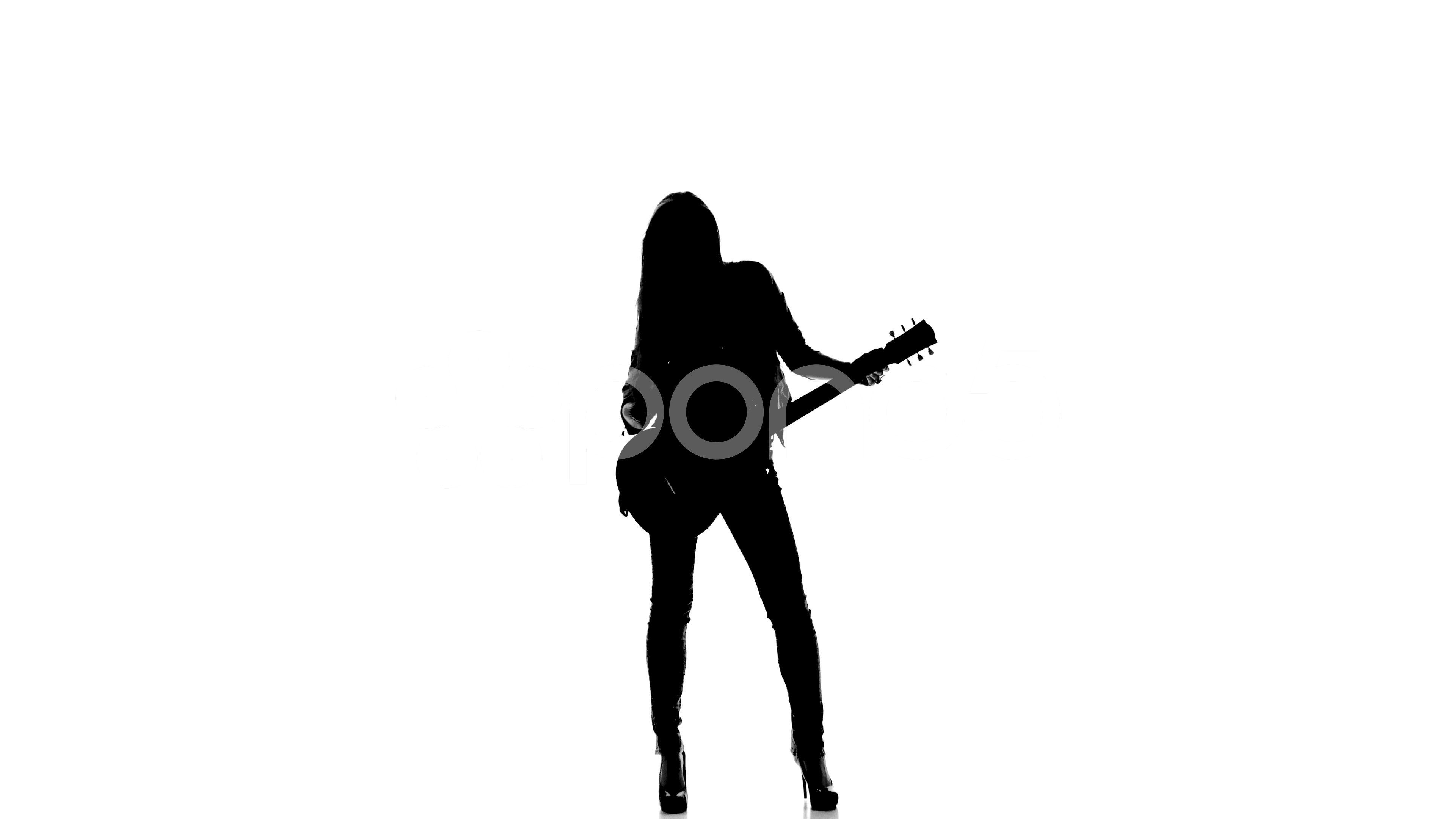3840x2160 Silhouette Of Young Girl Playing Dancing On Electric Guitar On