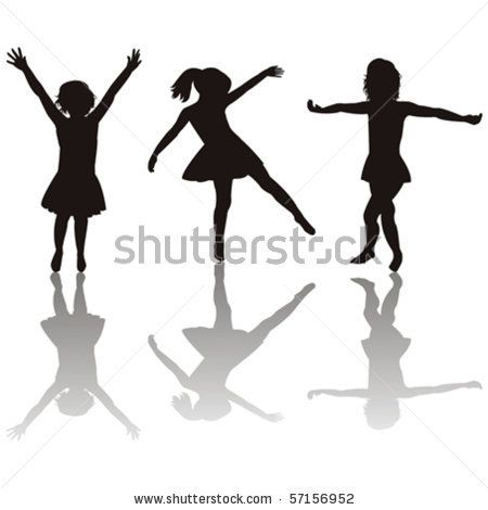 450x470 Three Little Girls Silhouettes
