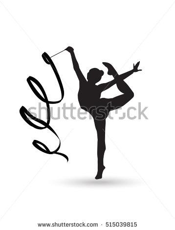 358x470 Young Gymnast Woman With Ribbon Silhouette. Rhythmic Gymnastic