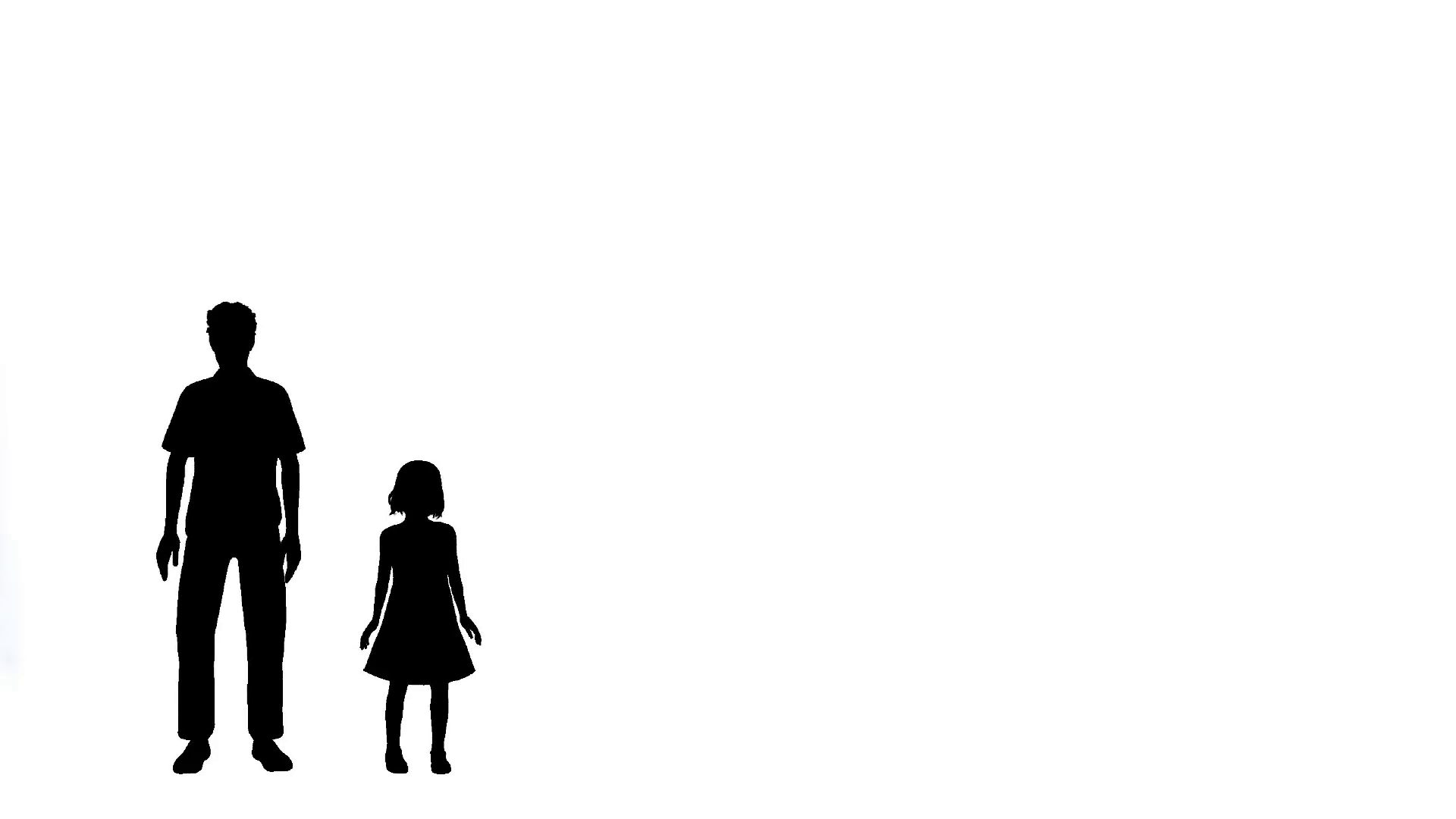 1920x1080 Man And Little Girl Left Of Frame Silhouette Motion Background